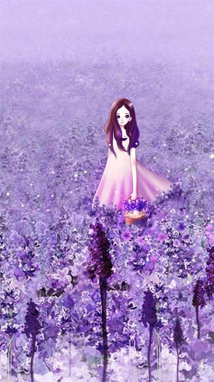 Anime Cute Girl In Purple Flower Garden Iphone 8 Wallpapers Free Download