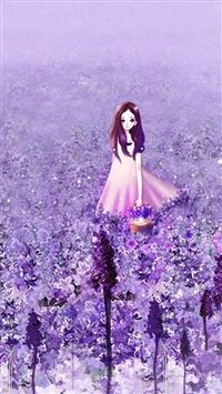Anime Cute Girl In Purple Flower Garden iPhone 6(s)~8(s) wallpaper