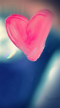 Pure Pink Love Heart Drawn On Glass Window iPhone 6(s)~8(s) wallpaper