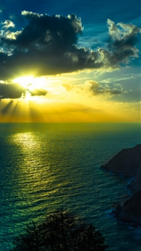 Mountains Sea Ocean Golden Sunshine Clouds Night iPhone 6(s)~8(s) wallpaper
