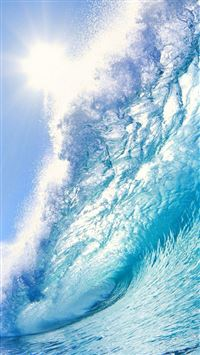 Nature Huge Ocean Surging Wave Under Sunshine iPhone 6(s)~8(s) wallpaper