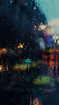 Raining Back Car Window Gloomy Dark Street iPhone 6(s)~8(s) wallpaper