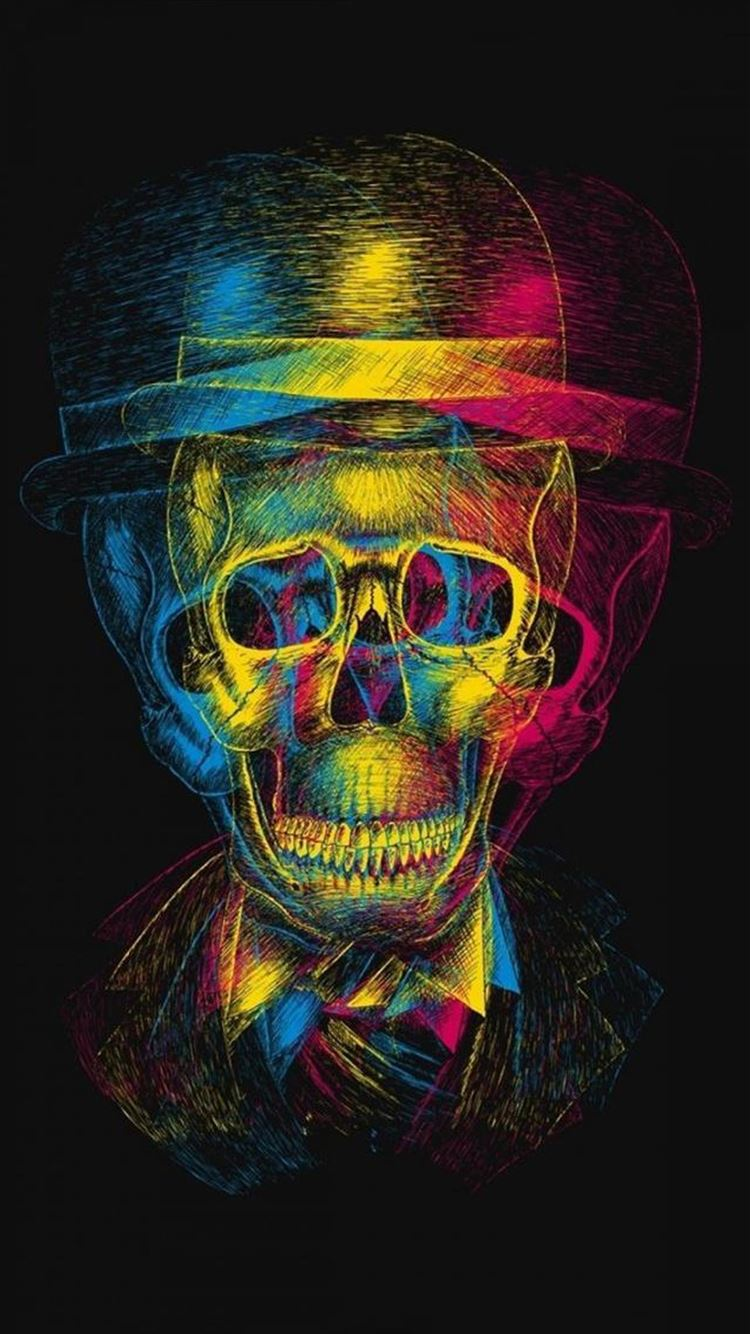 Colorful Overlap Skull In Hat Design Art Iphone 8 Wallpapers