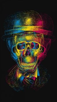 Colorful Overlap Skull In Hat Design Art iPhone 6(s)~8(s) wallpaper