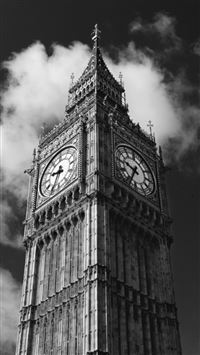 Gray London Big Ben Architecture Building iPhone 6(s)~8(s) wallpaper