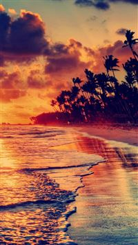 Nature Fire Sunset Beach iPhone 6(s)~8(s) wallpaper