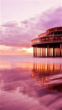 Spectacular Ocean Sunset Beach Architecture Landscape iPhone 6(s)~8(s) wallpaper