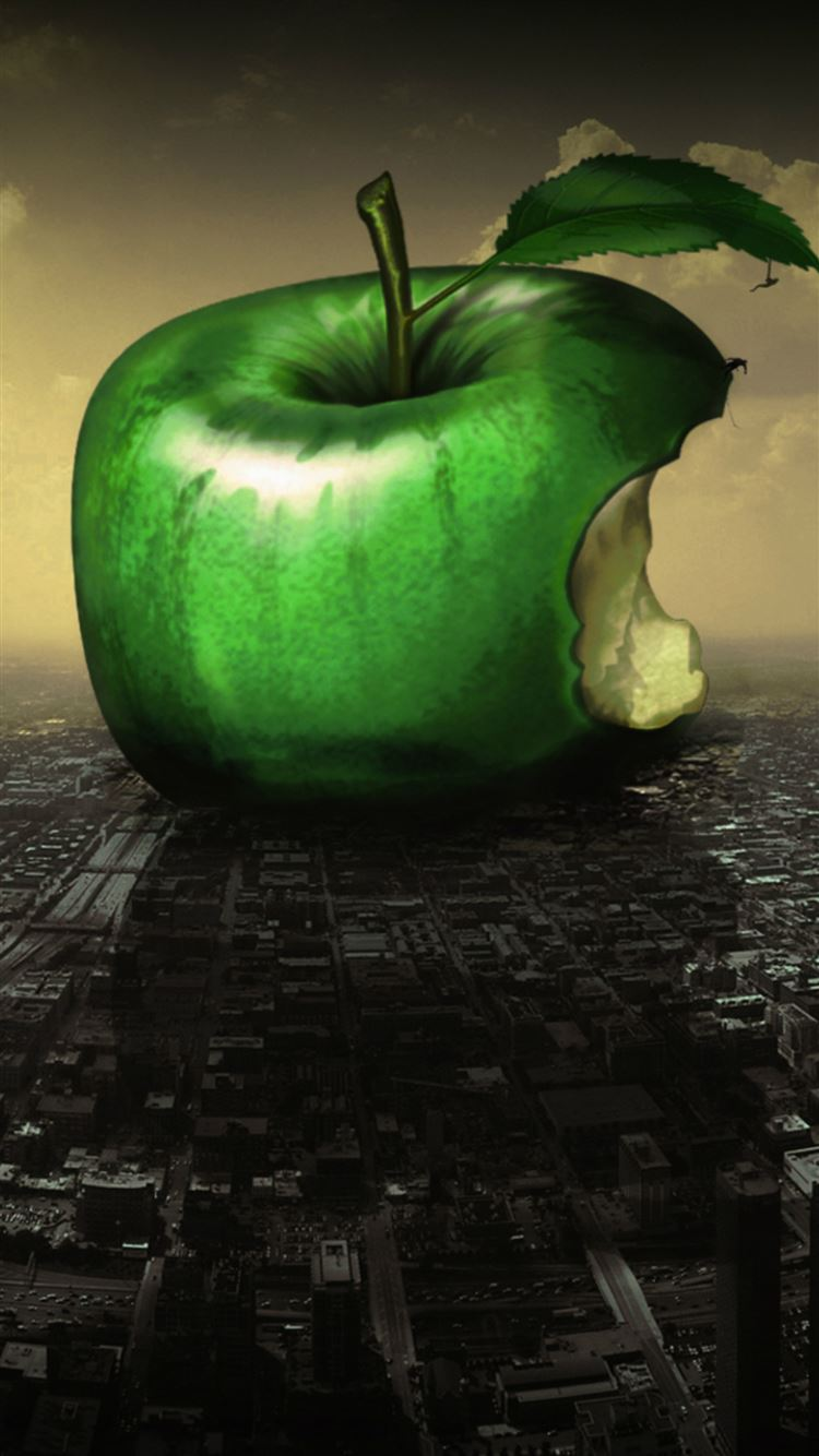 Huge Green Apple Bitten Fall City Art iPhone 8 wallpaper
