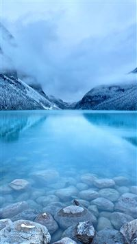 Nature Early Morning Peaceful Lake Mist Mountain Landscape iPhone 6(s)~8(s) wallpaper