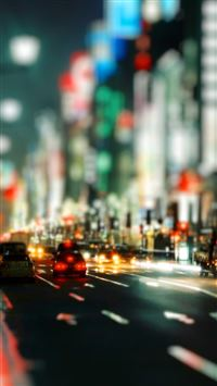 Nature Bustling City Street Night Scene iPhone 6(s)~8(s) wallpaper