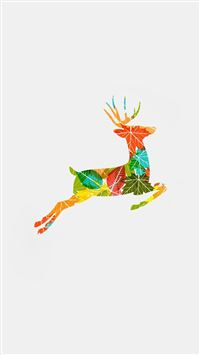 Colorful Reindeer Jump Illustration iPhone wallpaper