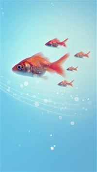 Pure Simple Underwater Goldfish Swimming iPhone 6(s)~8(s) wallpaper