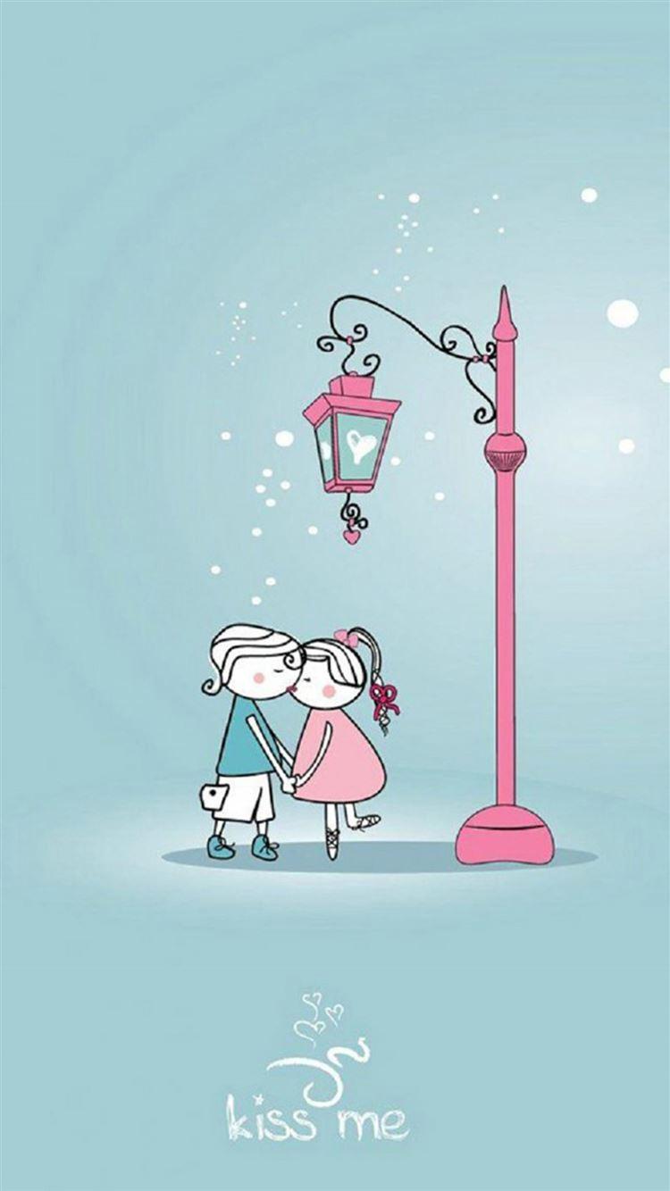 Anime Cartoon Sweet Lover Couple Kissing Winter Street Light Iphone