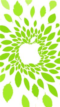 Abstract Apple Logo Green Leaf Pattern Background iPhone 6(s)~8(s) wallpaper