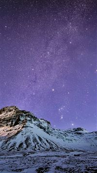 Snow Mountain Stars Skyscape iPhone 6(s)~8(s) wallpaper