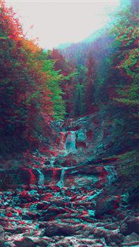 Anaglyph Mountain Green Nature Art iPhone 6(s)~8(s) wallpaper