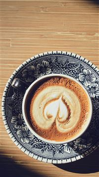Heart Coffee Cappuccino Cup Light Table iPhone 6(s)~8(s) wallpaper