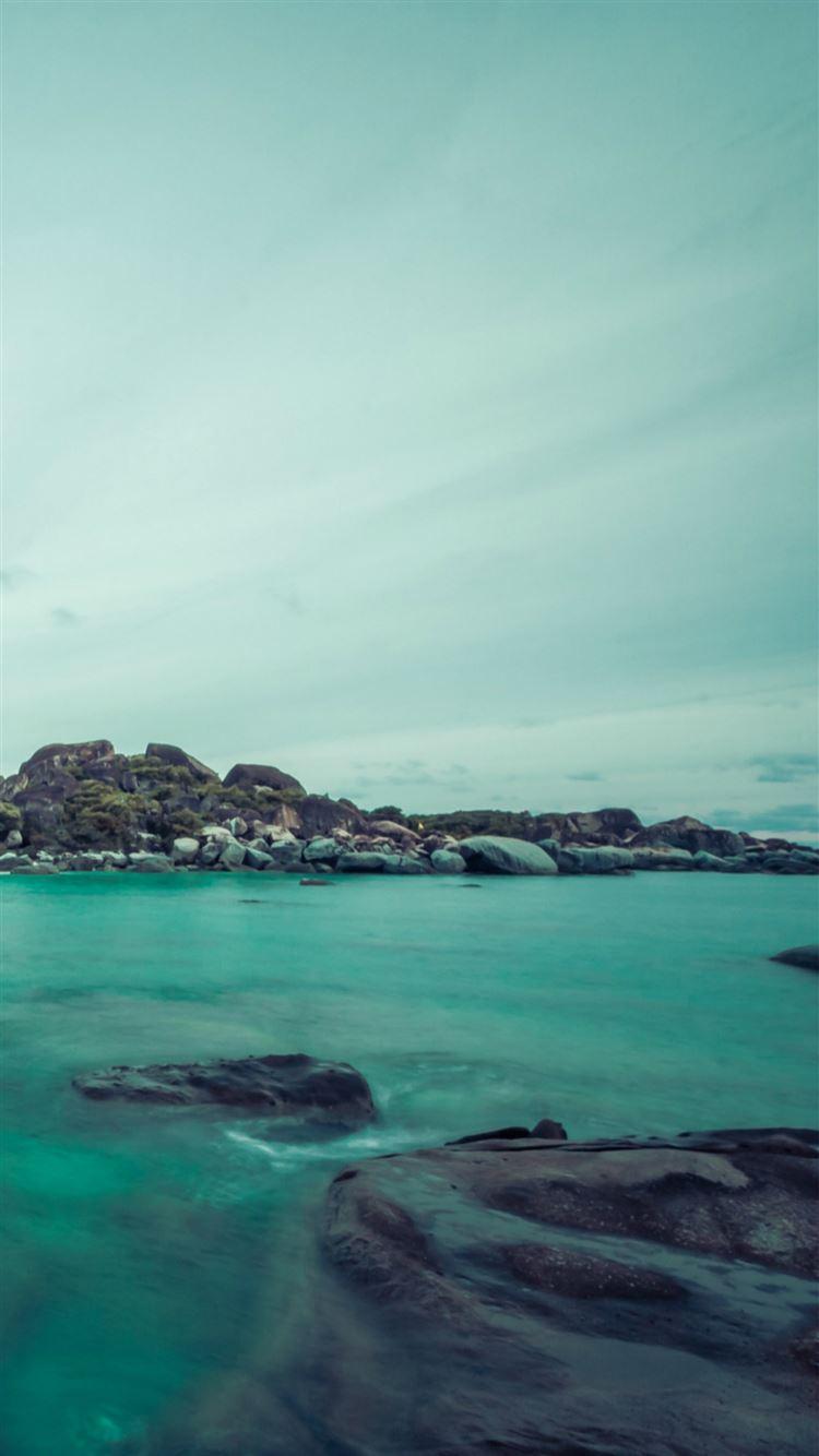 Cyan Island Rock Sea Landscape Iphone 8 Wallpapers Free Download