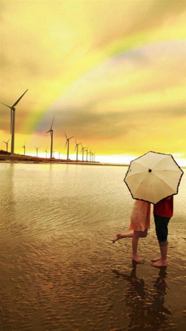Nature Seaside Kissing Lover Under Umbrella Rainbow Skyview Iphone