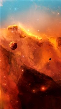 Space Clouds Planets Illustration iPhone 6(s)~8(s) wallpaper