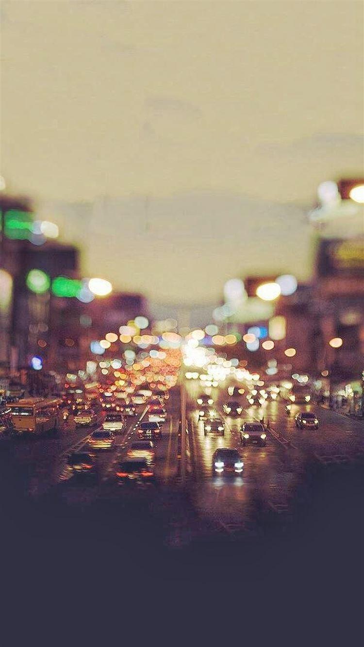 City Traffic Evening Tilt Shift IPhone 8 Wallpapers Free