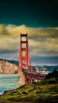 San Francisco Bridge Mountain Landscape iPhone 6(s)~8(s) wallpaper