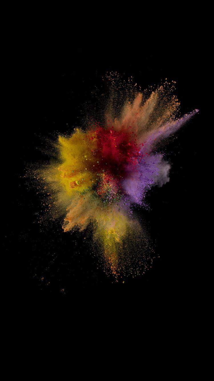 Colorful Dust Smoke Burst Explosion Art Ios9 Wallpaper