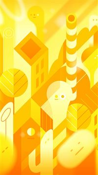 Android Lollipop Yellow Cute Illust Pattern iPhone 6(s)~8(s) wallpaper