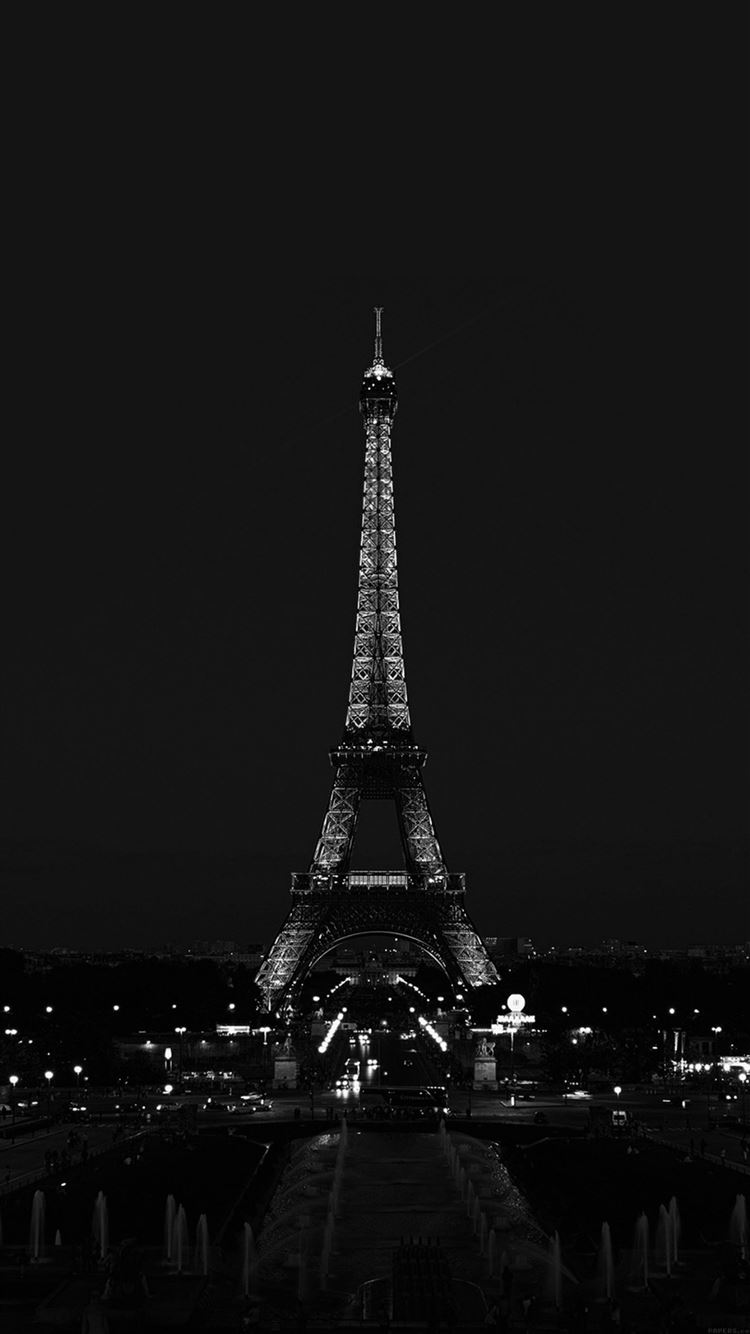 Paris Night France City Dark Eiffel Tower Iphone 8