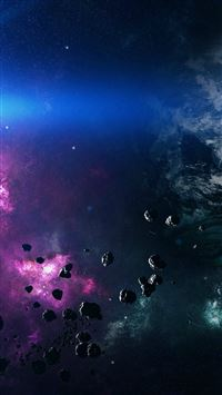 Space Asteroids Belt Purple iPhone 6(s)~8(s) wallpaper