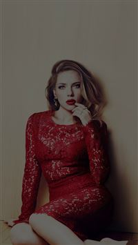 Scarlett Johansson Dark Celebrity Sexy Red Dress iPhone 6(s)~8(s) wallpaper