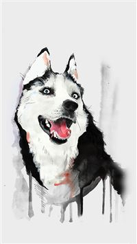 Husky Dog Watercolor Illustration iPhone 6(s)~8(s) wallpaper