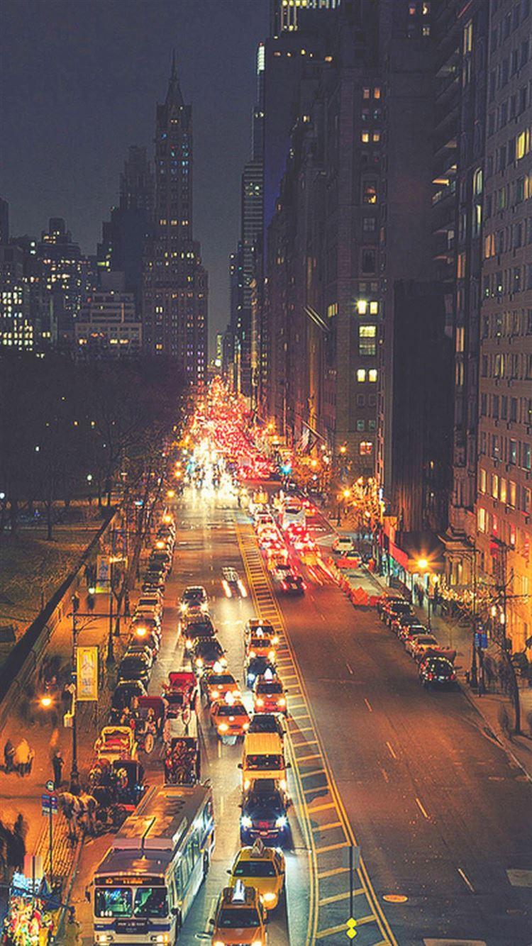 Busy New York Street Night Traffic IPhone 8 Wallpaper