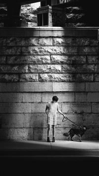Woman Dog Street Dark iPhone 6(s)~8(s) wallpaper