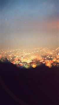 Bokeh Night City View Lights Flare iPhone wallpaper