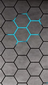 3D Blue Shiny Light Honey Comb Pattern Abstract Background iPhone 6(s)~8(s) wallpaper