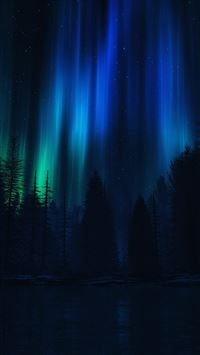Aurora Night Sky Dark Blue Nature Art iPhone 6(s)~8(s) wallpaper