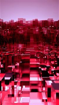 Abstract 3D Overlap Cubes Red Pattern iPhone 6(s)~8(s) wallpaper