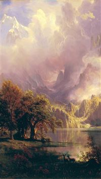 Albert Bierstadt Classic Painting Art iPhone 6(s)~8(s) wallpaper