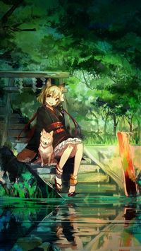 Girl And Dog Green Nature Anime Art Illust iPhone 6(s)~8(s) wallpaper