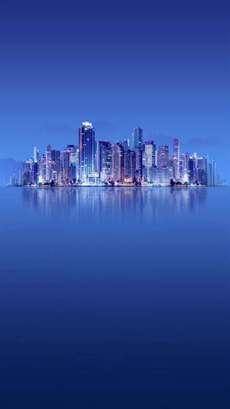Skyscrapers Calm Sea Winner Landsape iPhone 8 wallpaper