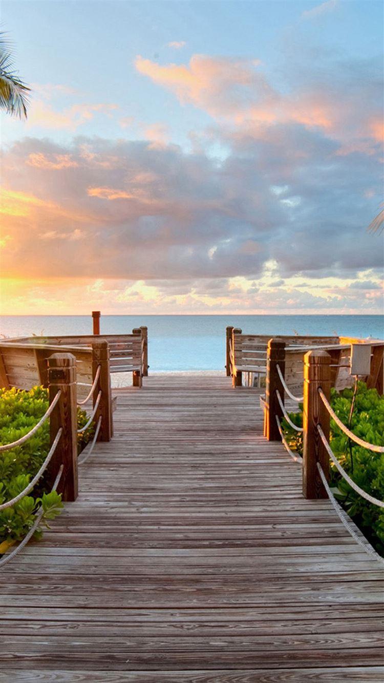 ... Nature Sunny Bright Skyscape Wooden Bridge IPhone 8 Wallpaper.