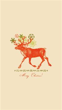 Merry Christmas Vintage Reindeer Illustration iPhone 6(s)~8(s) wallpaper