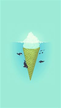 Whale Illust Green Sea Icecream Iiceberg iPhone 6(s)~8(s) wallpaper