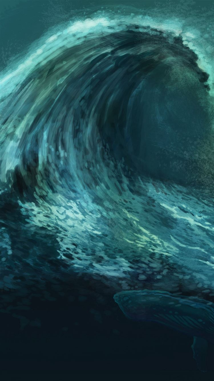 Color Wave Wallpaper Source Green Whale Art Illust IPhone 8 Download