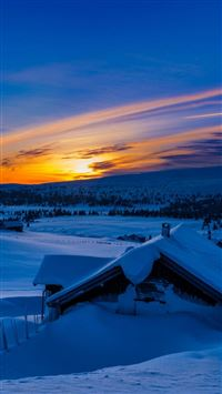Beautiful Sunset Winter Chalet Snow iPhone 6(s)~8(s) wallpaper