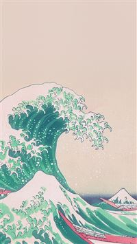 Wave Art Japanese Green Illust Classic iPhone 6(s)~8(s) wallpaper