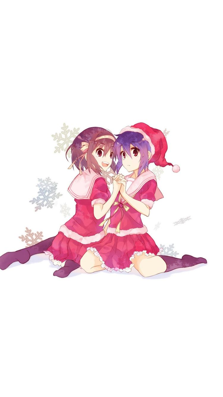 Cute Anime Chirstmas Art Illust Girls Iphone 8 Wallpapers