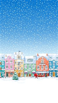 Snowy Town Santa Claus Delivering Christmas Presents iPhone 6(s)~8(s) wallpaper