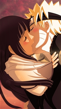 Naruto Uzumaki Naruto Hyuuga Hinata Girl Boy Kiss iPhone 6(s)~8(s) wallpaper